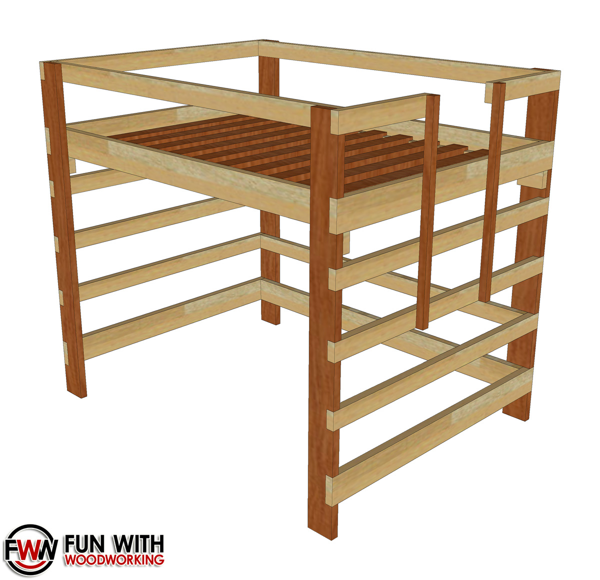 twin size loft bed full plans fun with woodworking. Black Bedroom Furniture Sets. Home Design Ideas